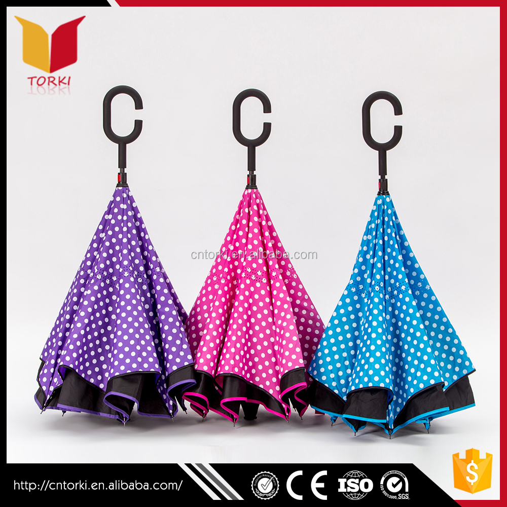 C shape hand Customized Waterproof Auto upside-down umbrella