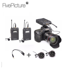 BOYA BY-WM8 UHF Dual Wireless Lavalier Microphone System Lav Interview Mic 2 Transmitters 1 Receiver for DSLR Video Camera