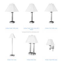 Lowest price Andaaz hotel lamp set metal table lamp with USB port and power outlet in the base standard USA hotel lighting