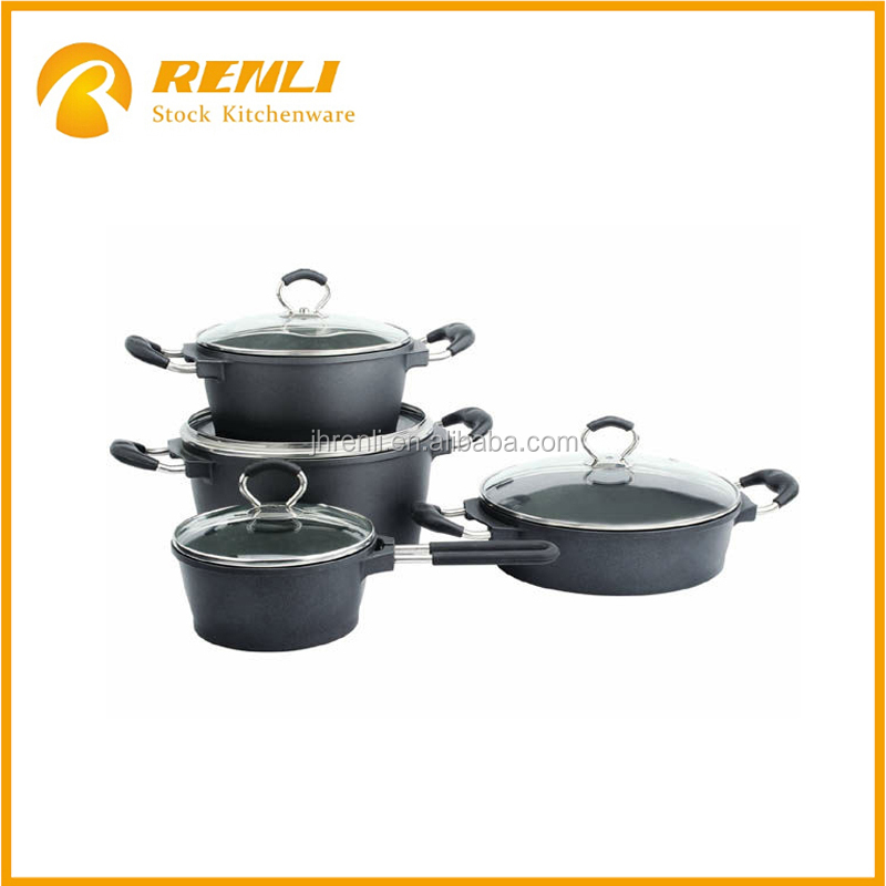 stocklots of kitchen utensils forged 8pcs aluminum die-cast cookware set stock for cheaper sale
