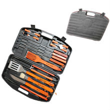 Hot sale 18pcs stainless steel bbq tool set with plastic storage case