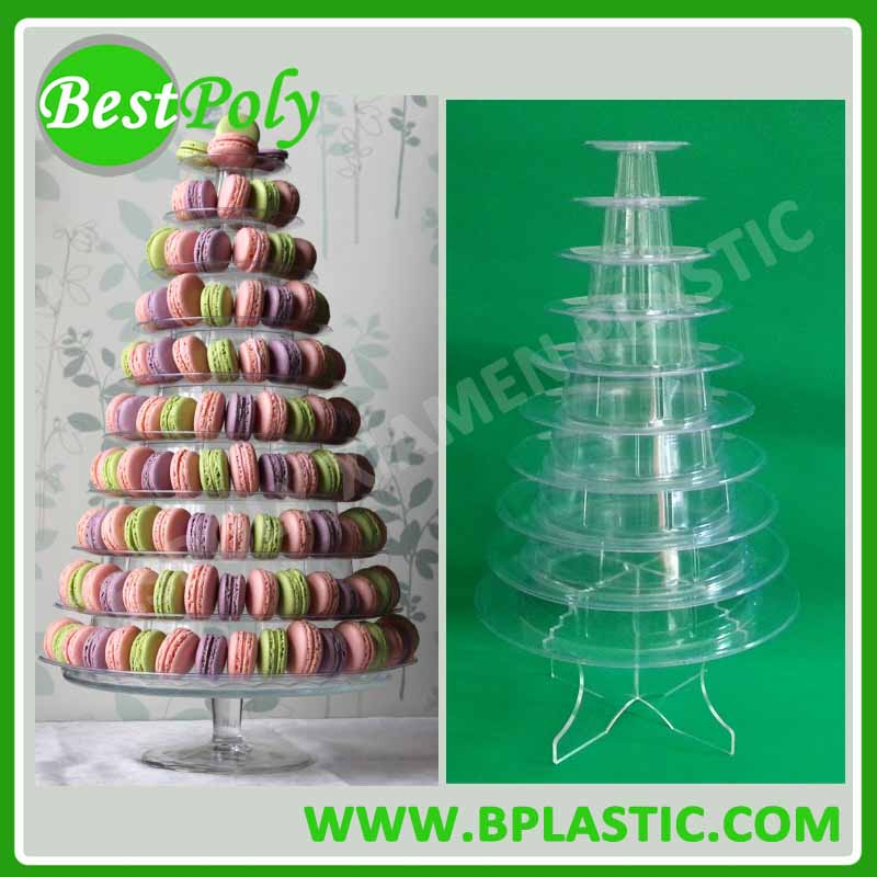 Wholesale 10 Tiers Clear Plastic Macaron Tower with <strong>Stand</strong> for Bakery