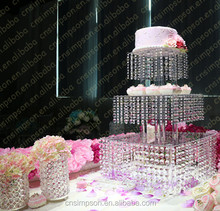 Elegant square 3 tiers acrylic cake stand with hanging crystal for wedding decoration