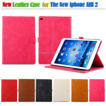 Quality products Crazy Horse Pattern Folio PU Leather Pouch Case For Apple iPad Air 2