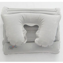 flocking fold-away inflatable backrest pillow,portable travel pillow inflatable
