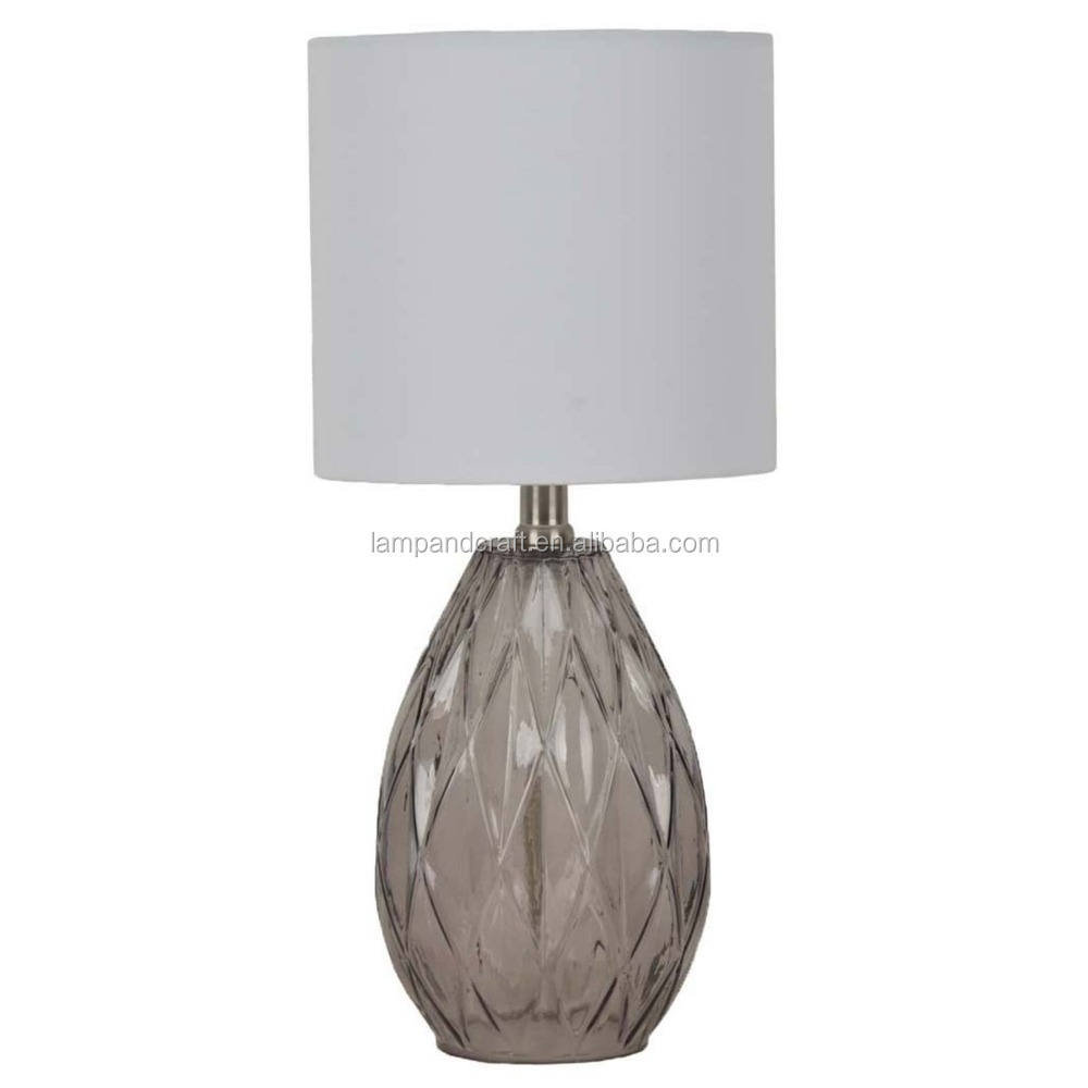 Essential home comtemporary CE approve grey cut clear glass table lamp with hoary color fabric lamp shade for hotel
