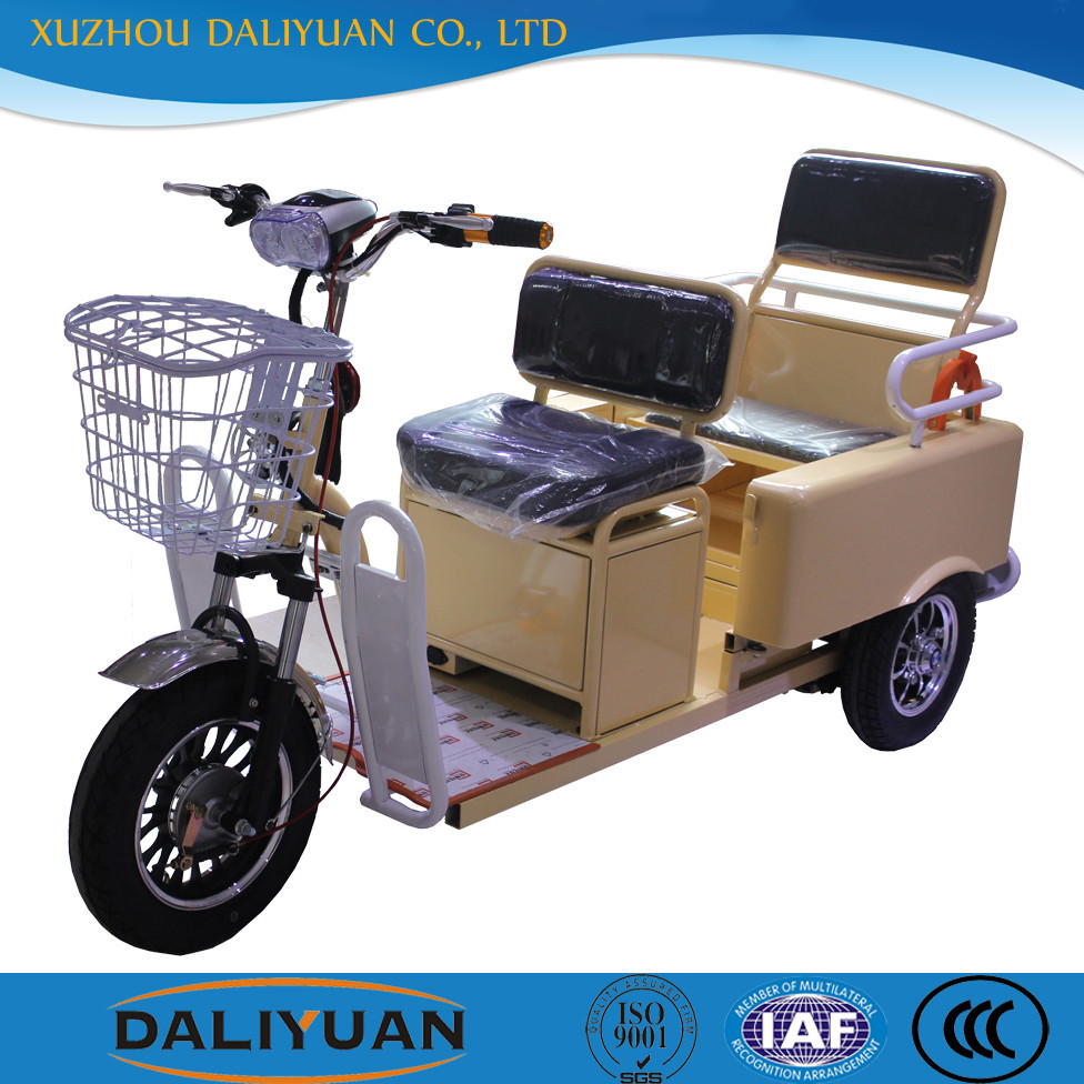 two seats gas powered adult tricycle electric for passenger