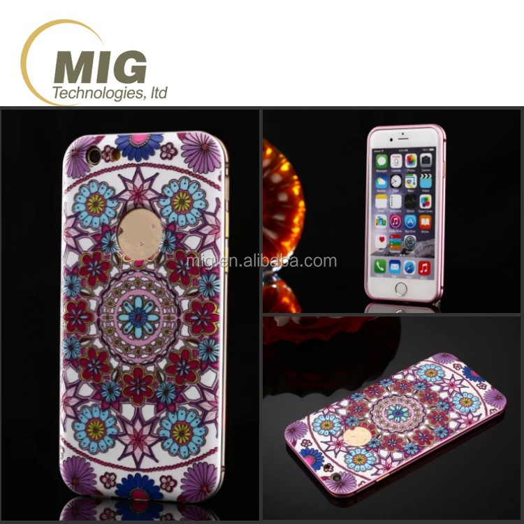 3D sublimation flowers mobile phone case for iphone 6s with metal frame bumper