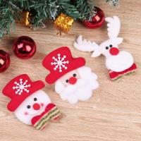 Cute Christmas Snowman Santa Claus Reindeer LED Brooch Xmas Fabric Ornament New