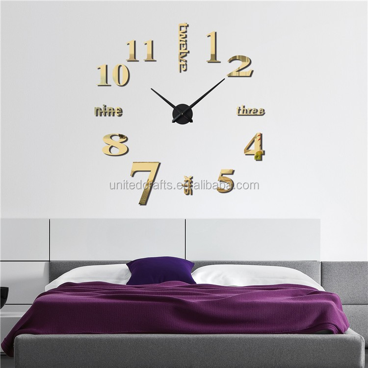 Fashion Large DIY 3D Wall Clock Home Decor Mirror Stickers Frameless Hours Watch