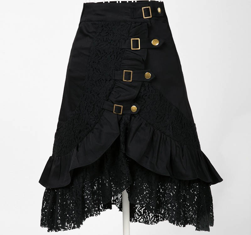 wholesale supplier gothic punk clothing steampunk womens skirt metal dark lace ropa falda jupe kleidung