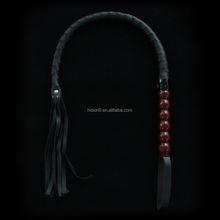 Long Balck Leather Male Bondage Whip Wholesale Led Whip Sex Gay Toys Braided Leather Whip with Bead Handle