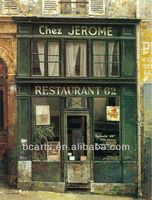 European romantic French restaurant style oil painting, abstract art on the walls of high-quality map