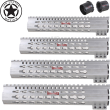 7 10 12 15 Raw Aluminum AR 15 Free Float Keymod Hand Guard Picatinny Quad Rail with Steel Barrel Nut in the White for AR15