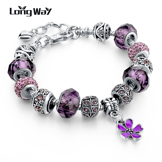 Longway 2016 925 Silver Charm Bracelets For Women With Crystal Beads Bracelets & Bangles Pulseras DIY Jewelry SBR160037