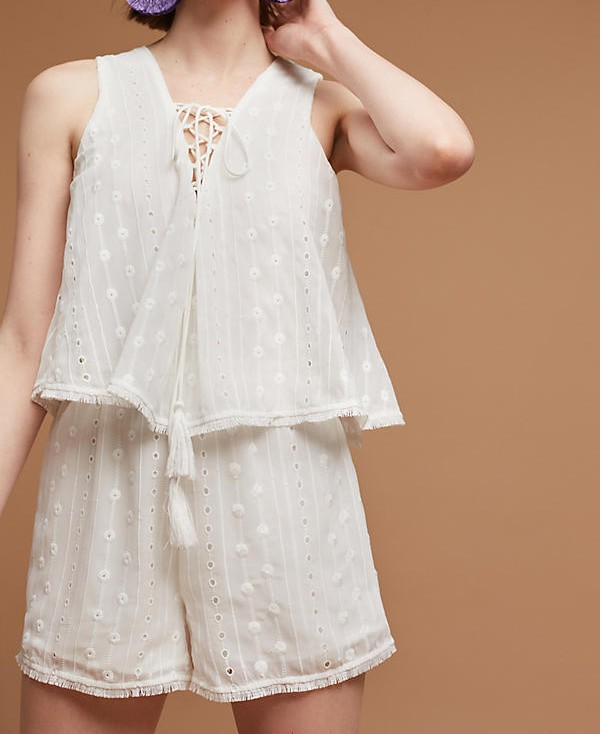Hot selling white jumpsuit sleeveless lace up romper