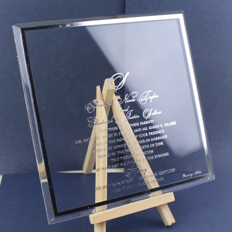Customized Luxury Elegant Clear Acrylic Wedding Invitation in Silk Box