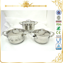 6pcs etching flower stainless steel cookware set MSF-3646