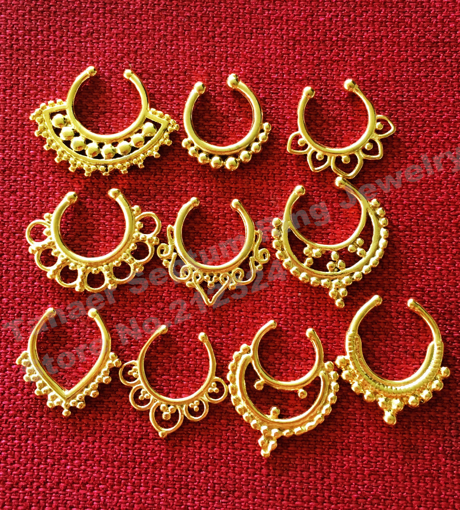Sample Septum Ring Surgical Steel Tribal Septum Body Jewelry Septum Hanger Septum Clip Fake/Faux/Non-piercing Gold Septum Ring