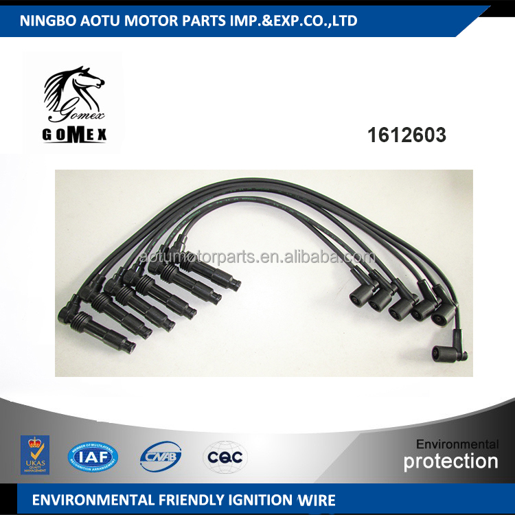 High voltage silicone Ignition wire set, ignition cable kit, spark plug wire1612603 for OPEL