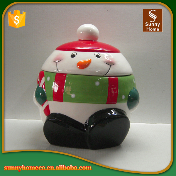 2017 new ceramic custom christmas snowman design cookie candy jar
