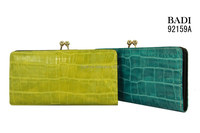 Genuine crocodile leather wallet latest design fashion metal frame wallet women wallets