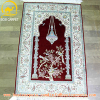 Persian red ivory mosque prayer rug carpet , Handmade oriental pure silk Kashan carpet prices