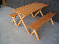 outdoor wooden picnic camping table and bench