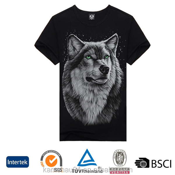 Promotional wholesale slim fit all black sublimation dog printed t-shirts with animal prints
