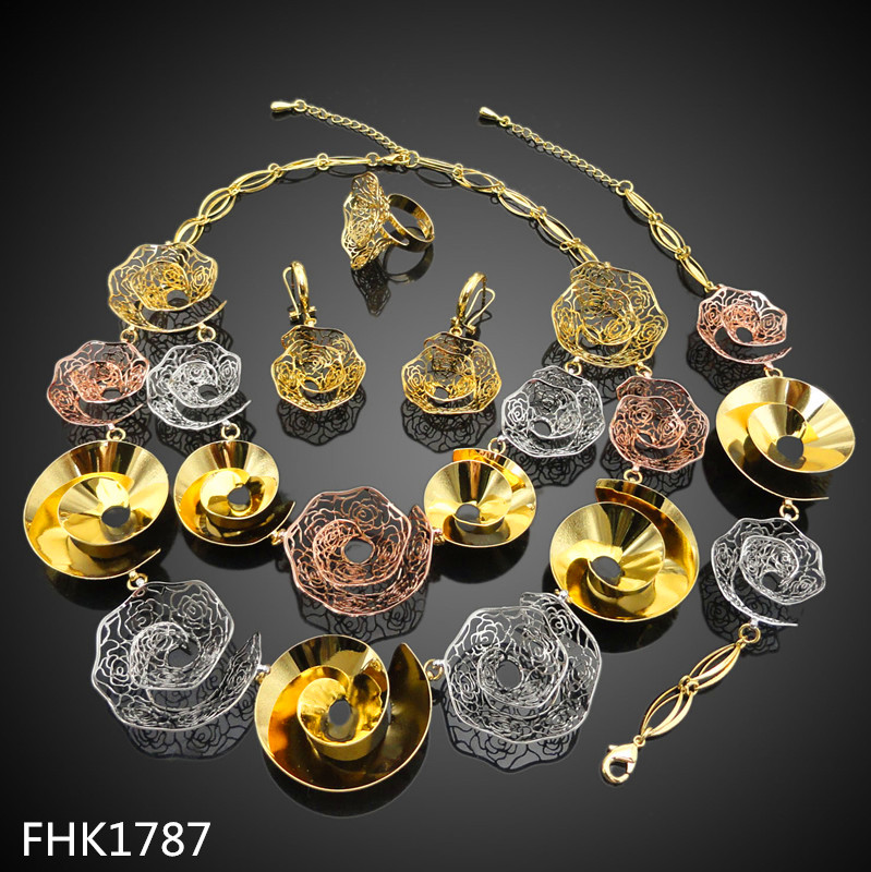 African Beads Jewelry Set /Artificial Kundan Bridal Jewellery Sets 24k Gold Plated Jewelry