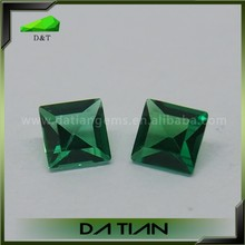 Top quality princess cut synthetic precious stones emerald green