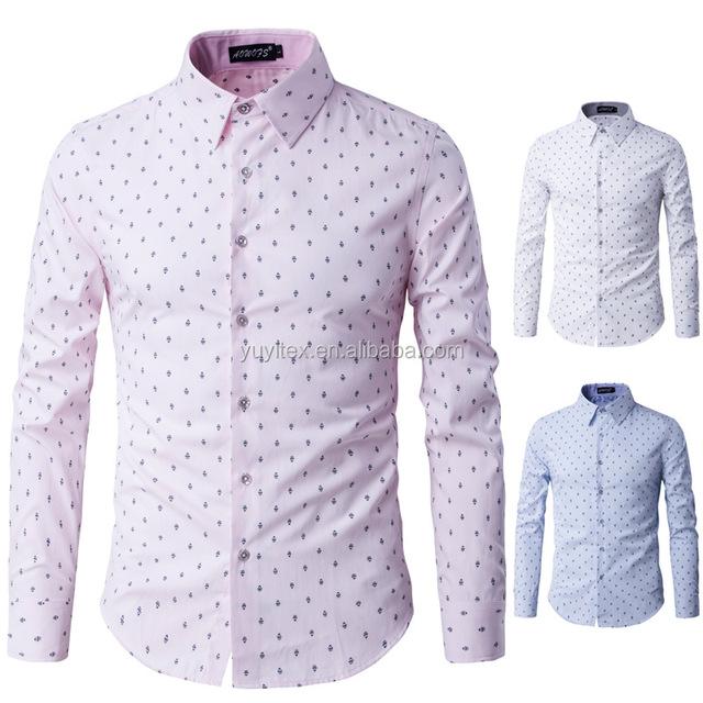 Printed Casual Button Down Shirt Cotton Long Sleeve Regular Fit Dress Shirt For Men