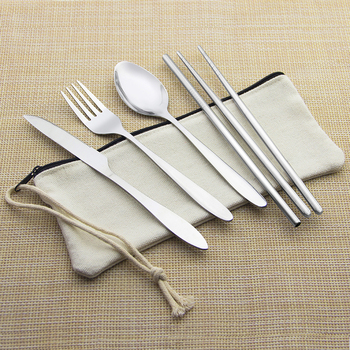 Eco friendly stainless steel portable travel utensil cutlery set with bag