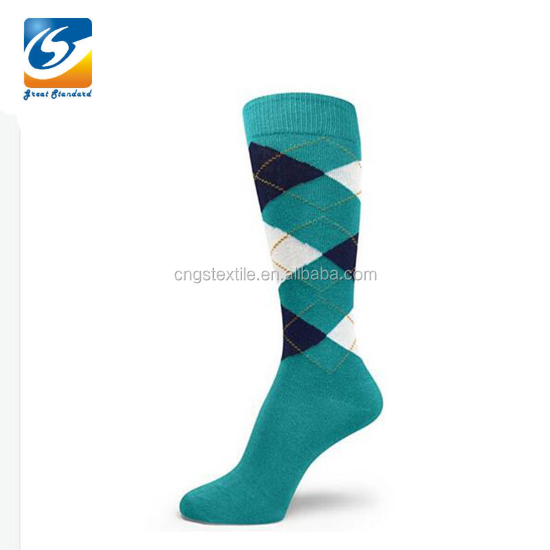 GSM-<strong>1010</strong> Teal Arygle Knee High Cotton Men Socks for Wholesale