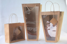 wholesale paper bag flower vase, flower paper bag, bag withhandle