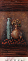 Canvas flower oil painting, ceramic flower pot painting designs