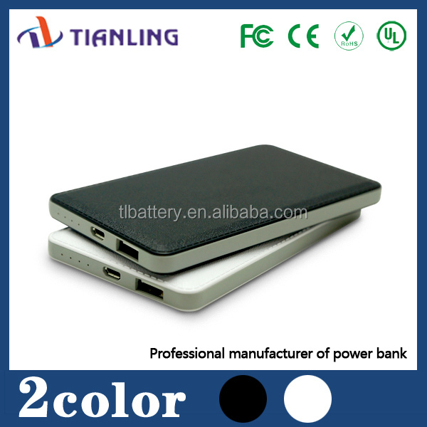 high class power bank with leather case 6000mAh
