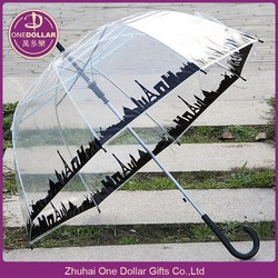Clear Dome Bubble Umbrella with City Skyline Design