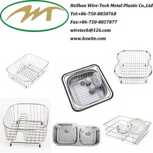 High quality cheap China Stainless steel 201 wire Sink draining grid grill Basket manufacturer dish rack
