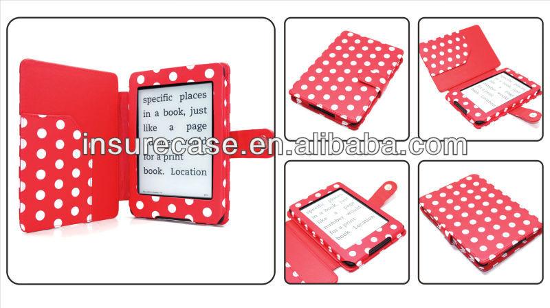 For Amazon kindle paperwhite cover,High-grade Red/White Folio Polka Dots leather case for kindle paperwhite cover