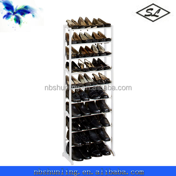 30-pair white plastic small shoe racks