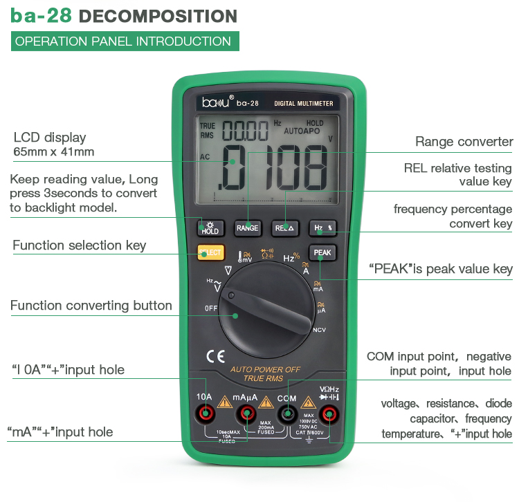ba-28 electronic multi-function digital multimeter for ac/dc voltage / current / resistance / capacitance / frequency & diode