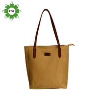 China manufacturer wholesale custom logo printed shoulder bags, canvas tote bag leather handle