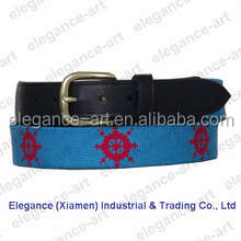 Cotton men's red compass needlepoint belt with belt leather