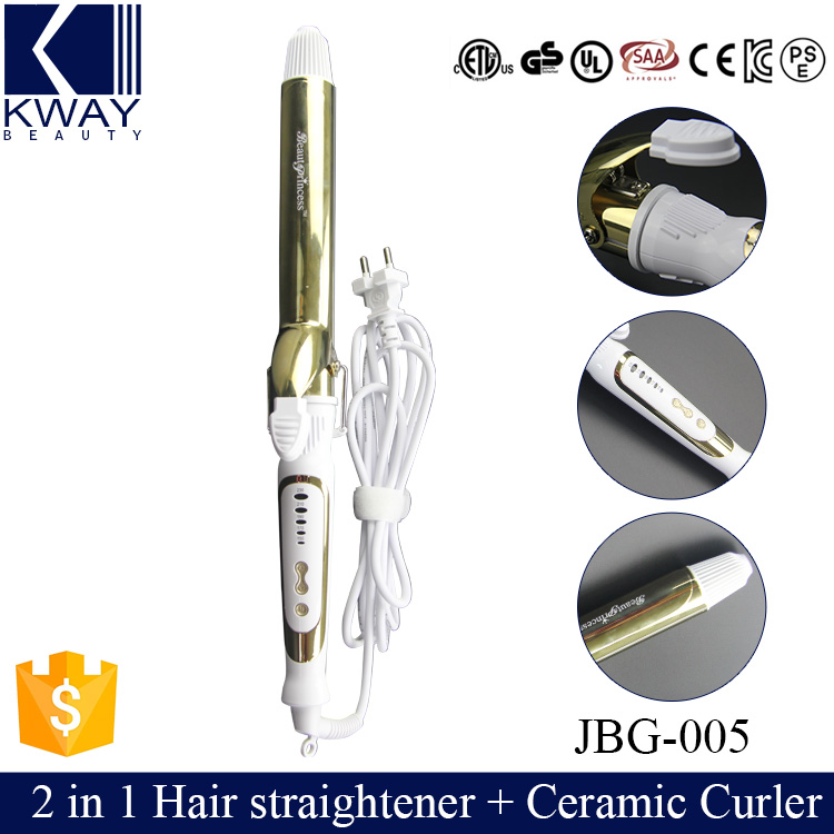 brand new 2 in 1 salon hair straightener ceramic curling curler roller iron as seen tv wave. Black Bedroom Furniture Sets. Home Design Ideas