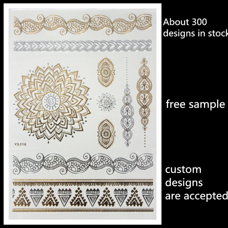 2015 non-toxic wholesale custom metallic gold temporary tattoos