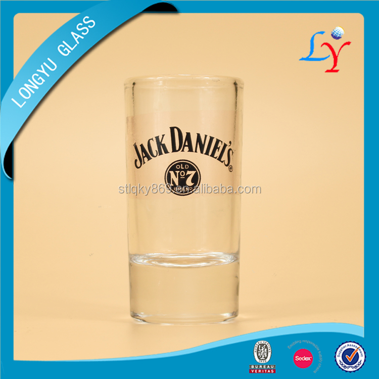 1.5oz shot glass wholesale cheap jack daniels whisky glass cup thick bottom jack daniels cups with custom logo