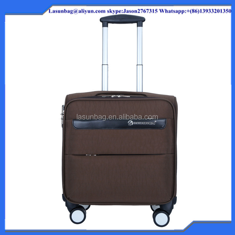 Best Four Wheels Dark brown cloth canvas travelling luggage sets bag eminent trolley suitcase