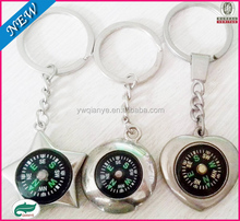 custom cheap make promotional engraved compass keychain