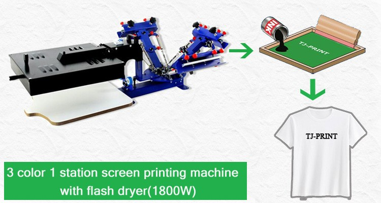 Desktop Manual 3 color 1 station screen printing machine with flash dryer